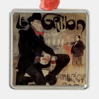 Vintage Art Nouveau Le Grillon, Mann-trinkendes Silbernes Ornament