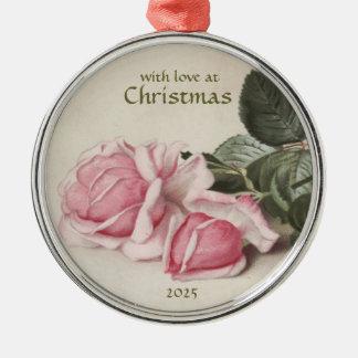 Vintage Art-Rosa-Rosen - rundes Ornamnet Rundes Silberfarbenes Ornament