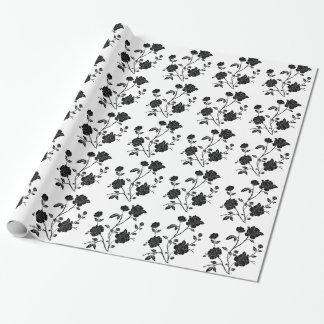 Vintage Art-Schwarz-Blumen Geschenkpapier