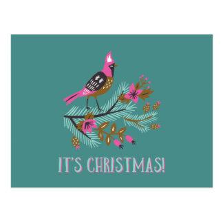 Vintage Art-Vogel-Weihnachtspostkarte Postkarte