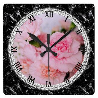 Vintage Artphotographie der rosa Quadratische Wanduhr