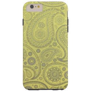 Vintage Asche weißes Paisley auf gelbem Tough iPhone 6 Plus Hülle