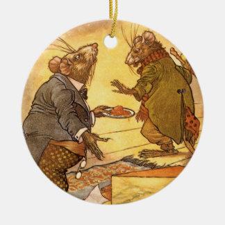 Vintage Äsops Fabel, Land-Maus, Stadt-Maus Keramik Ornament