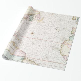Vintage Atlantik- u. Nordamerika-Karte (1700s) Geschenkpapier
