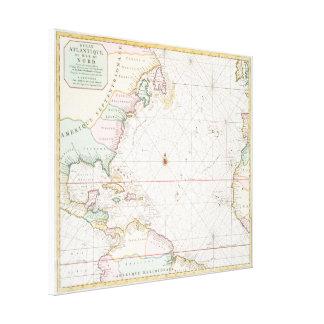 Vintage Atlantik- u. Nordamerika-Karte (1700s) Leinwanddruck