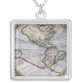 Vintage Atlas-Weltkarte Halskette Mit Quadratischem Anhänger