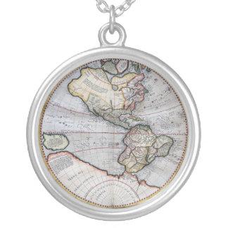 Vintage Atlas-Weltkarte Halskette Mit Rundem Anhänger