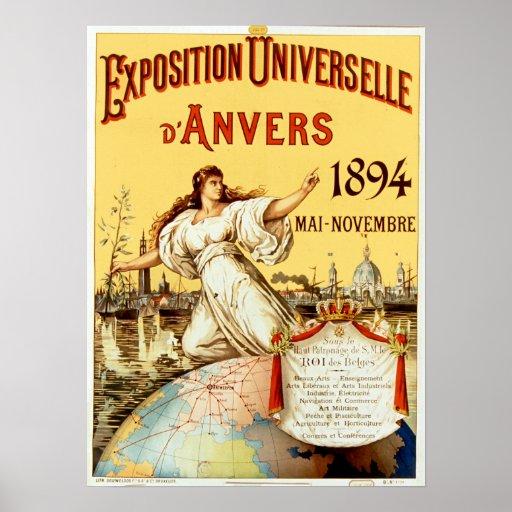 Vintage Ausstellung Universelle d'Anvers 1894 Poster