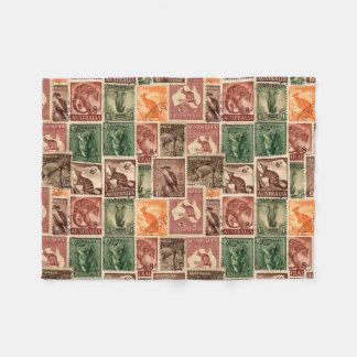 Vintage australische Porto-Briefmarken-Sammlung Fleecedecke