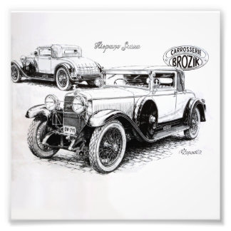 Vintage Autoillustration Photo Druck
