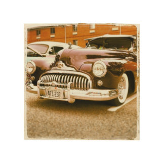 Vintage Autokunst Holzdruck