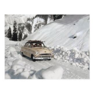 Vintage Autowerbung, Winterszene Postkarte