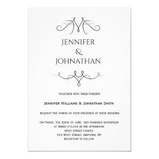 Vintage b&w Hochzeitseinladungen 12,7 X 17,8 Cm Einladungskarte