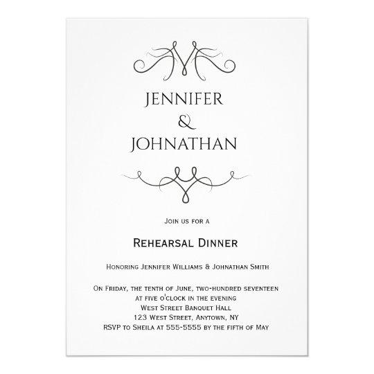 Vintage b&w Proben-Abendesseneinladungen 12,7 X 17,8 Cm Einladungskarte