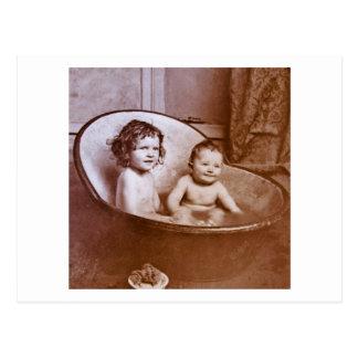 Vintage Baby-Bad-Zeit Postkarte