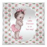 Vintage Baby-Dusche Prinzessin-Pink Roses Silver Individuelle Einladungskarte