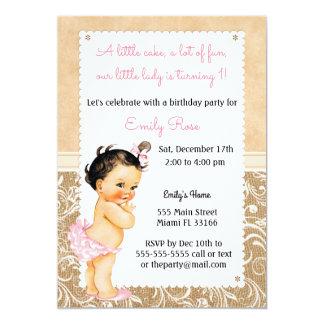 Vintage Baby Leinwand Geburtstags Einladung Karte