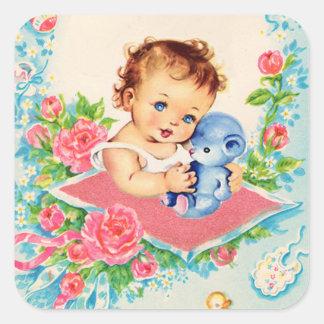 Vintage Baby-Mädchen-Aufkleber Quadratischer Aufkleber