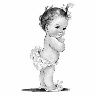 Vintage Baby-Mädchen-Dusche Freistehende Fotoskulptur