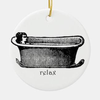 Vintage Badewanne entspannen sich Briefmarke Rundes Keramik Ornament