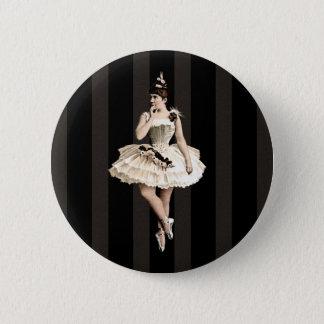 Vintage Ballerina-dunkle Farben Runder Button 5,7 Cm