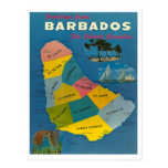 Vintage Barbados-Karte Postkarte