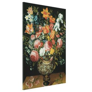 Vintage Barock-noch Leben-Blumen in einem Vase Leinwanddruck