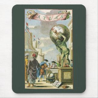 Vintage barocke Ära-Atlas-Frontispiz-Weltkugel Mauspads