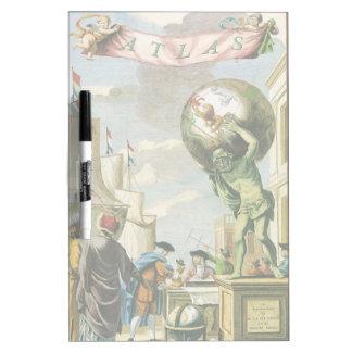 Vintage barocke Ära-Atlas-Frontispiz-Weltkugel Memoboard