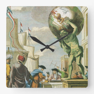 Vintage barocke Ära-Atlas-Frontispiz-Weltkugel Quadratische Wanduhr