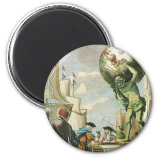 Vintage barocke Ära-Atlas-Frontispiz-Weltkugel Runder Magnet 5,7 Cm