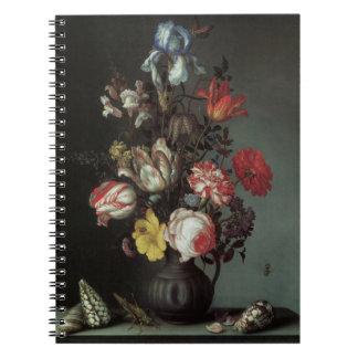 Vintage barocke Blumen durch Balthasar van Der Ast Notizblock