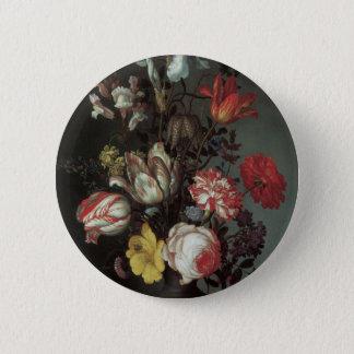 Vintage barocke Blumen durch Balthasar van Der Ast Runder Button 5,7 Cm