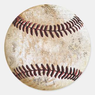 Vintage Baseball-Aufkleber für handgeschriebenes Runder Aufkleber