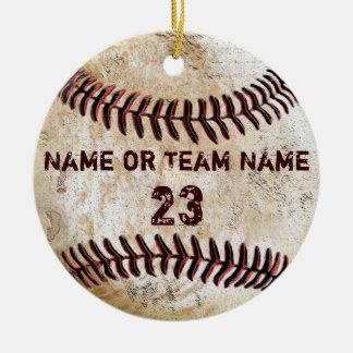 Vintage Baseball-Verzierungen mit NAMEN und ZAHL Rundes Keramik Ornament