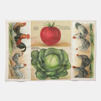 Vintage Bauernhofillustrationen: gemütliche Geschirrtuch