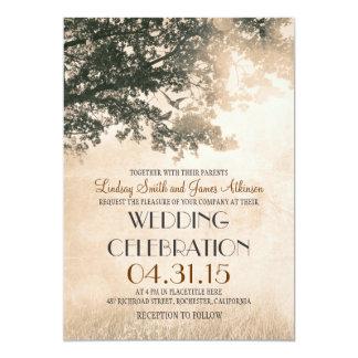 Vintage Baum-und Liebe-Vogel-rustikale 12,7 X 17,8 Cm Einladungskarte