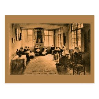 Vintage Beguines Spitzeherstellung in Gent (Herr) Postkarte
