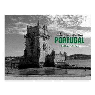Vintage Belem-Turm-Silhouette 3% pipe% Torre Belem Postkarte