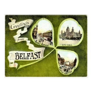 Vintage Belfast-Kleeblattpostkarte Postkarte