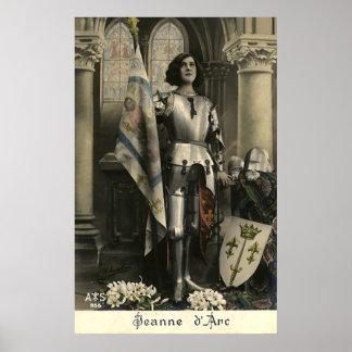 Vintage Beschreibung von Jeanne d'Arc Poster