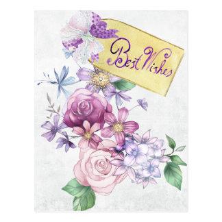 """Vintage """"beste Wünsche"""" Watercolorpostkarte Postkarte"""