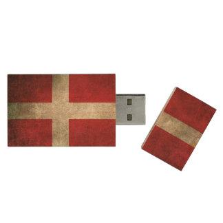 Vintage beunruhigte Flagge von Dänemark Holz USB Stick