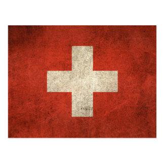 Vintage beunruhigte Flagge von der Schweiz Postkarte