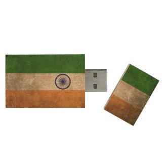 Vintage beunruhigte Flagge von Indien Holz USB Stick