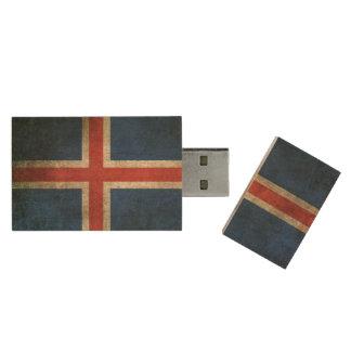 Vintage beunruhigte Flagge von Island Holz USB Stick