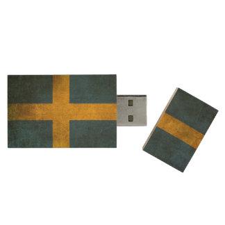 Vintage beunruhigte Flagge von Schweden Holz USB Stick