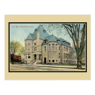 Vintage Bibliothek Lowells MA Erinnerungshall Postkarte