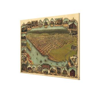 Vintage bildhafte Karte von Eureka Kalifornien Leinwanddruck