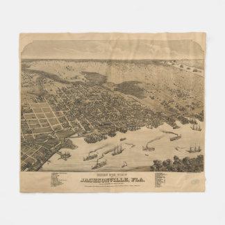 Vintage bildhafte Karte von Jacksonville Florida Fleecedecke